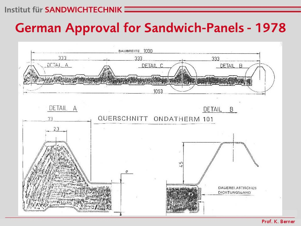 Prof. K. Berner German Approval for Sandwich-Panels - 1978