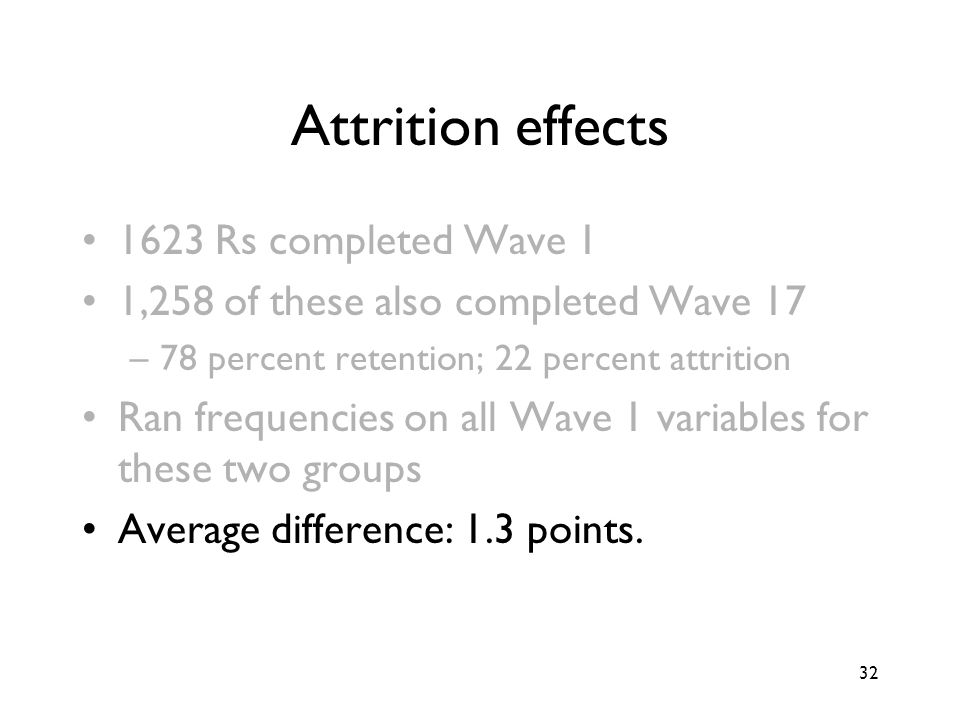 32 Attrition effects 1623 Rs completed Wave 1 1,258 of these also completed Wave 17 –78 percent retention; 22 percent attrition Ran frequencies on all Wave 1 variables for these two groups Average difference: 1.3 points.