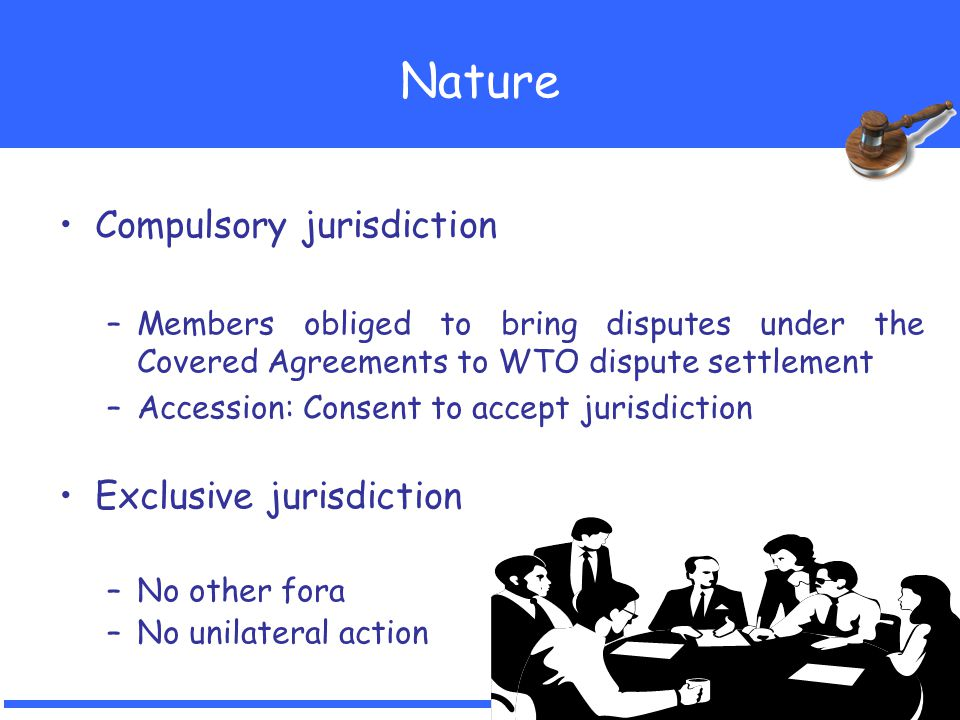 12 Nature Compulsory jurisdiction –Members obliged to bring disputes under the Covered Agreements to WTO dispute settlement –Accession: Consent to acc