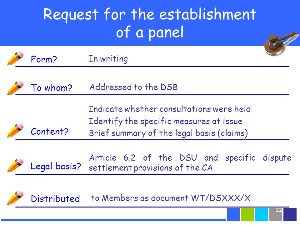 22 Request for the establishment of a panel Form? In writing To whom? Content? Legal basis? Addressed to the DSB Distributed Indicate whether consulta