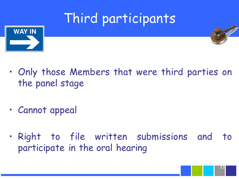 33 Third participants Only those Members that were third parties on the panel stage Cannot appeal Right to file written submissions and to participate