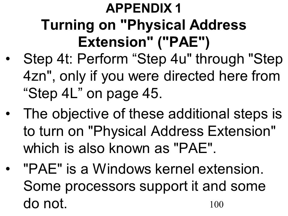 100 APPENDIX 1 Turning on