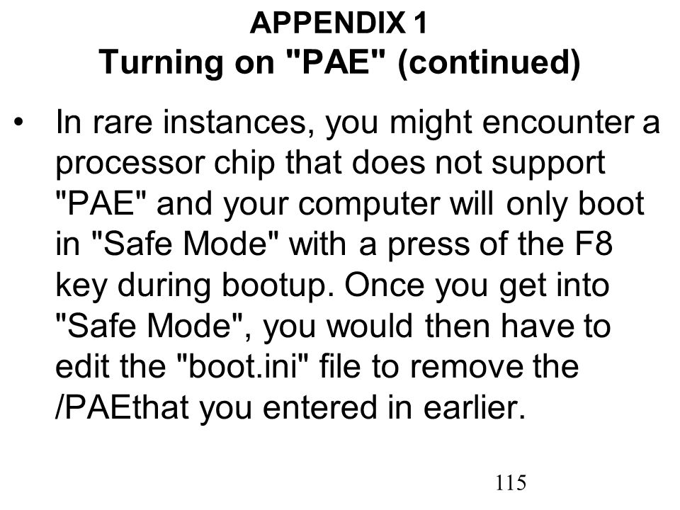 115 APPENDIX 1 Turning on