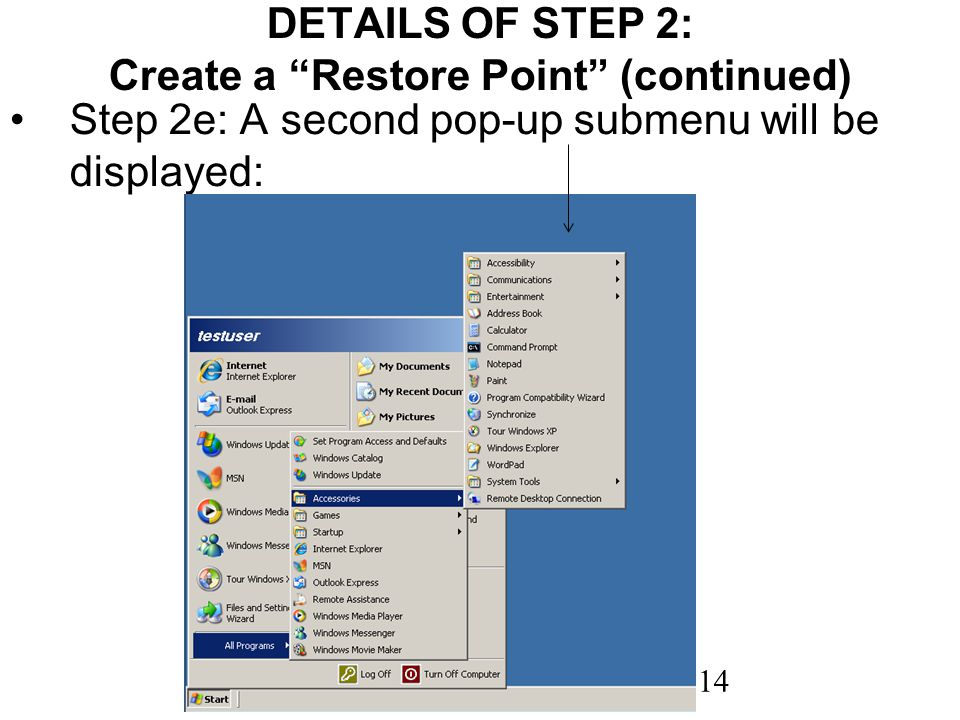 14 DETAILS OF STEP 2: Create a Restore Point (continued) Step 2e: A second pop-up submenu will be displayed: