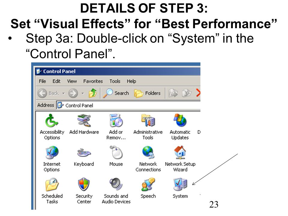 23 DETAILS OF STEP 3: Set Visual Effects for Best Performance Step 3a: Double-click on System in the Control Panel.
