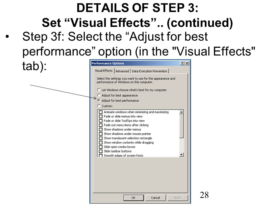 28 DETAILS OF STEP 3: Set Visual Effects.. (continued) Step 3f: Select the Adjust for best performance option (in the