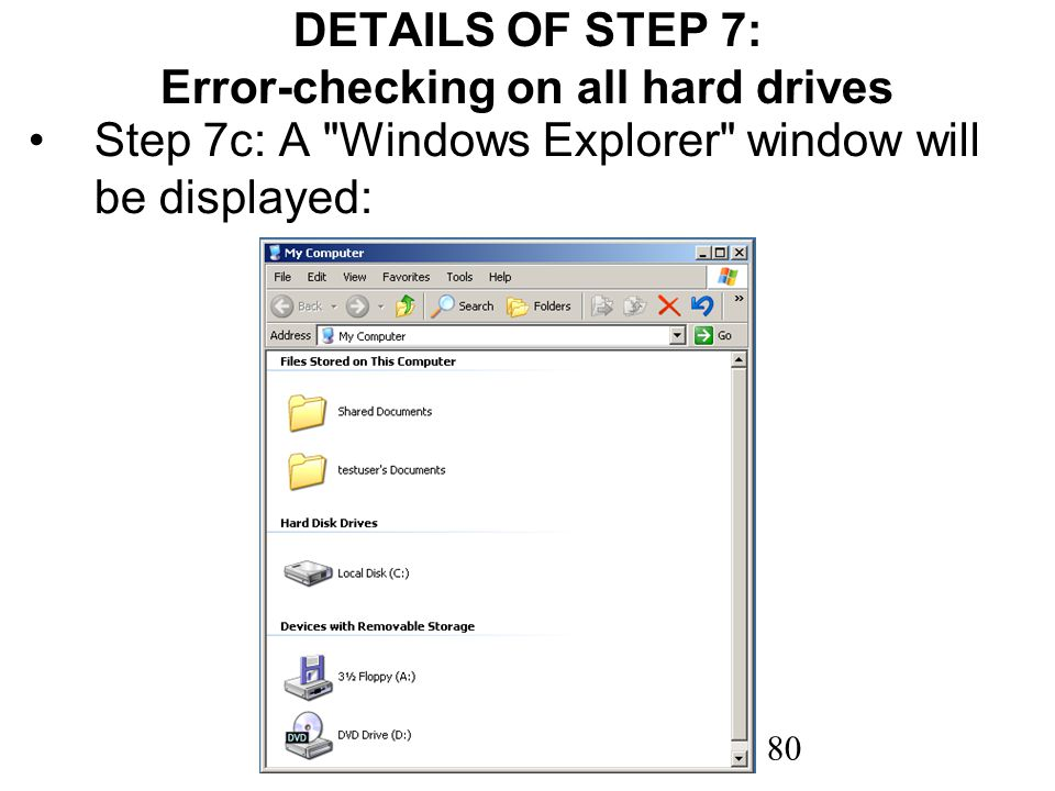80 DETAILS OF STEP 7: Error-checking on all hard drives Step 7c: A
