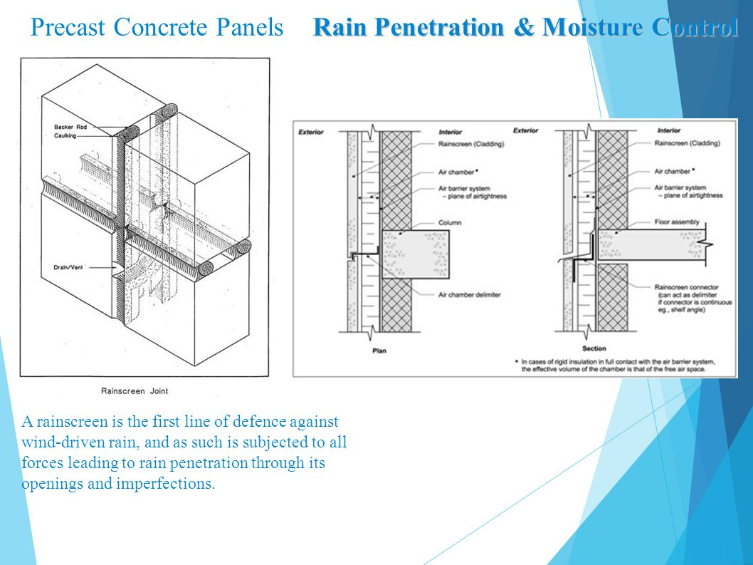 Rain Penetration & Moisture Control Precast Concrete Panels Rain Penetration & Moisture Control A rainscreen is the first line of defence against wind