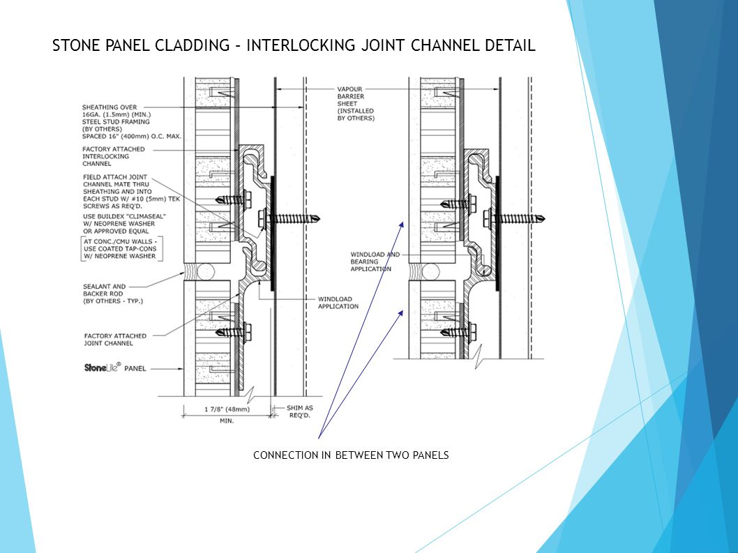 STONE PANEL CLADDING – INTERLOCKING JOINT CHANNEL DETAIL CONNECTION IN BETWEEN TWO PANELS