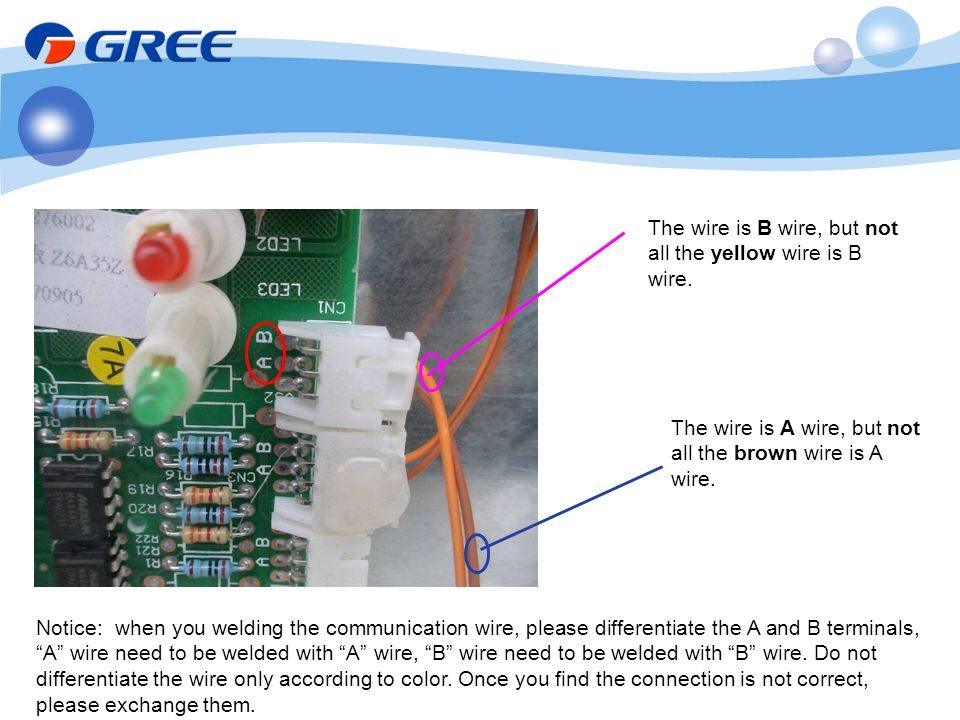 Notice: when you welding the communication wire, please differentiate the A and B terminals, A wire need to be welded with A wire, B wire need to be w
