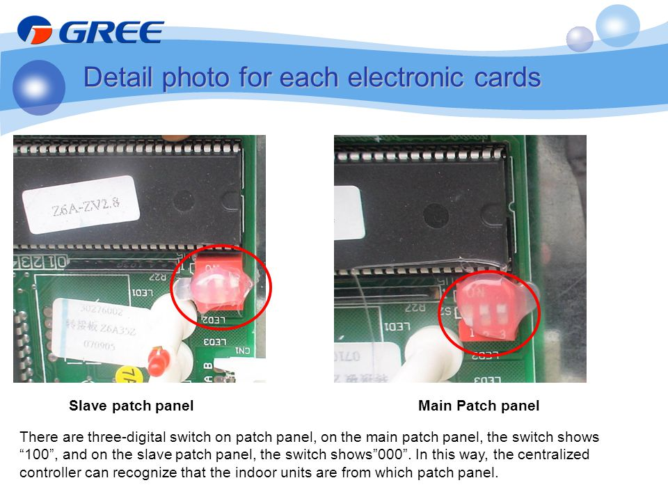 Detail photo for each electronic cards There are three-digital switch on patch panel, on the main patch panel, the switch shows 100, and on the slave