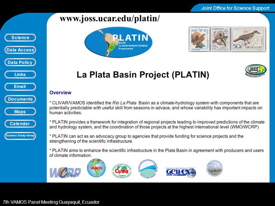 7th VAMOS Panel Meeting Guayaquil, Ecuador www.joss.ucar.edu/platin/