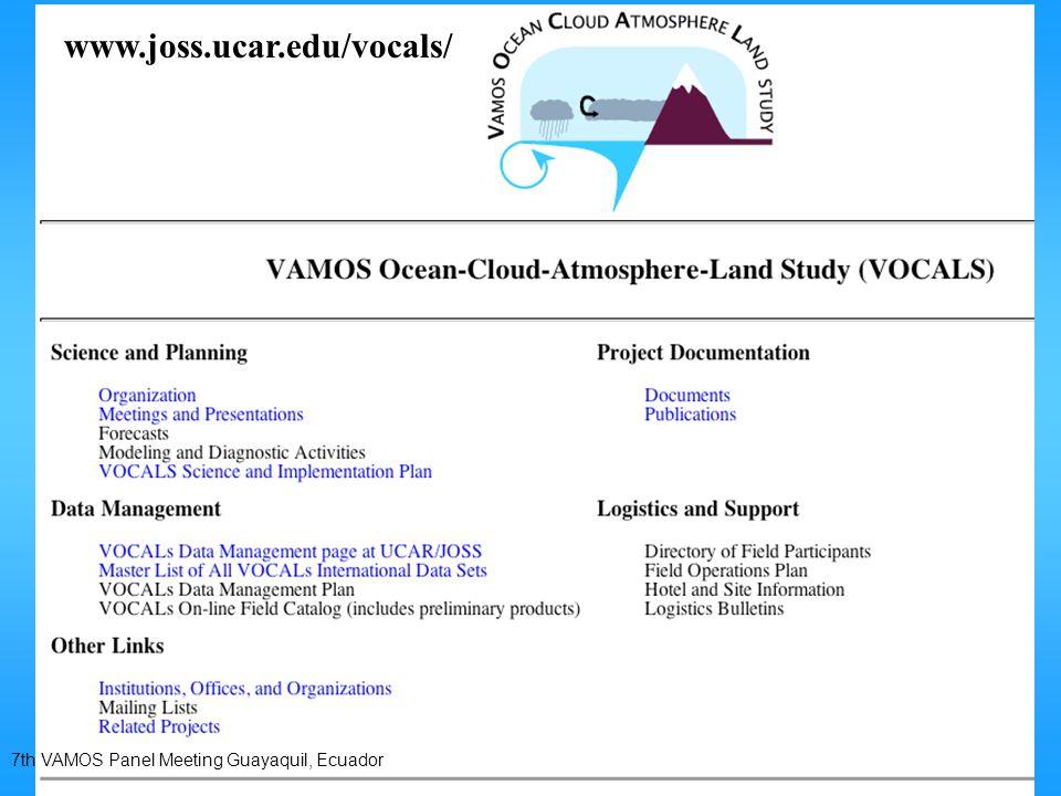 7th VAMOS Panel Meeting Guayaquil, Ecuador www.joss.ucar.edu/vocals/