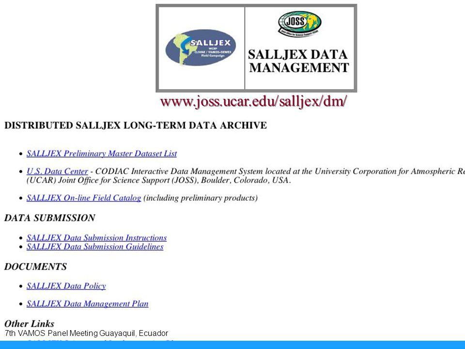 www.joss.ucar.edu/salljex/dm/ 7th VAMOS Panel Meeting Guayaquil, Ecuador