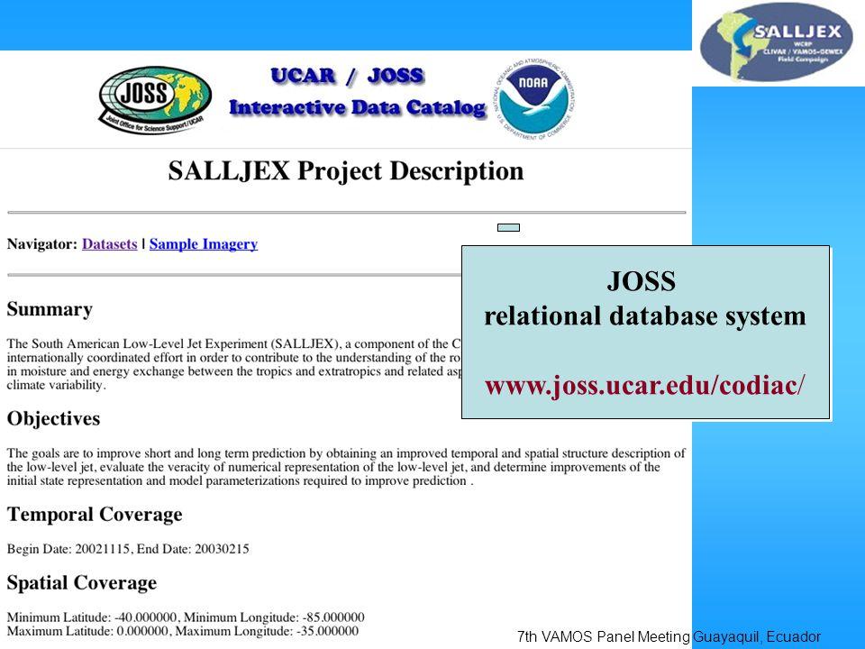 JOSS relational database system www.joss.ucar.edu/codiac/ JOSS relational database system www.joss.ucar.edu/codiac/ 7th VAMOS Panel Meeting Guayaquil, Ecuador