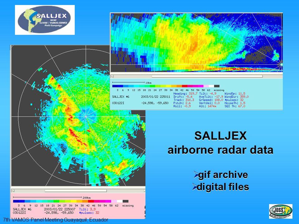 SALLJEX airborne radar data gif archive digital files SALLJEX airborne radar data gif archive digital files 7th VAMOS Panel Meeting Guayaquil, Ecuador