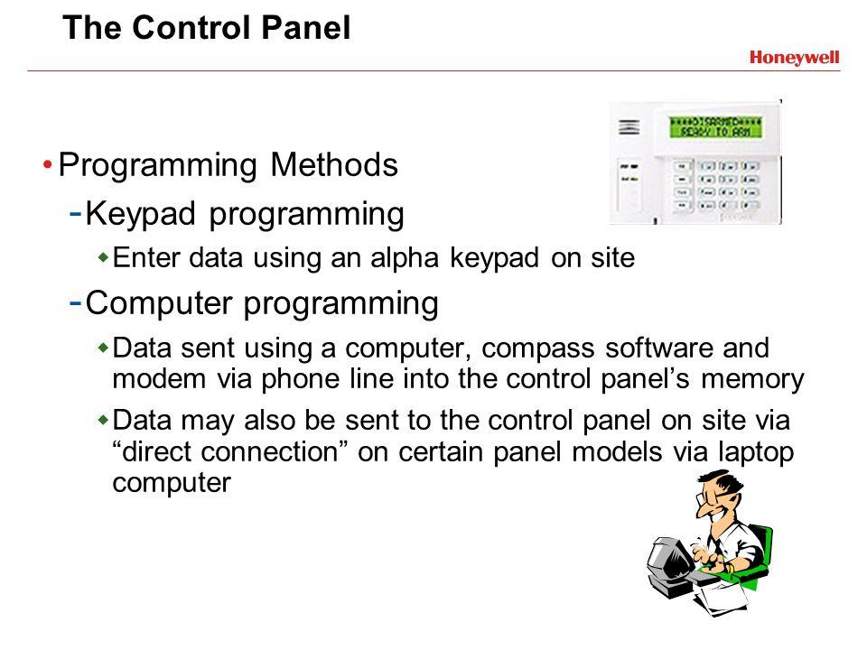 The Control Panel Programming Methods - Keypad programming Enter data using an alpha keypad on site - Computer programming Data sent using a computer,