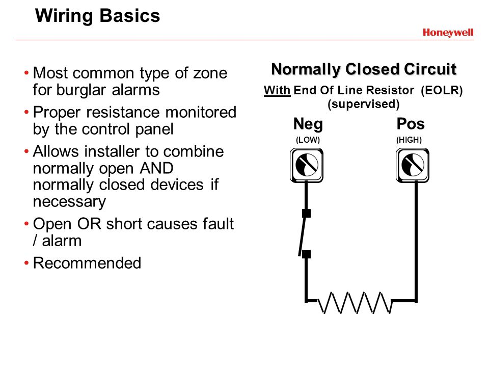 Wiring Basics Most common type of zone for burglar alarms Proper resistance monitored by the control panel Allows installer to combine normally open A