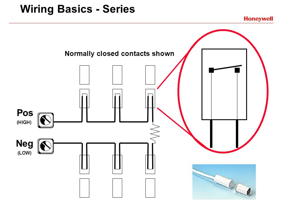 Wiring Basics - Series Neg (LOW) Pos (HIGH) Normally closed contacts shown