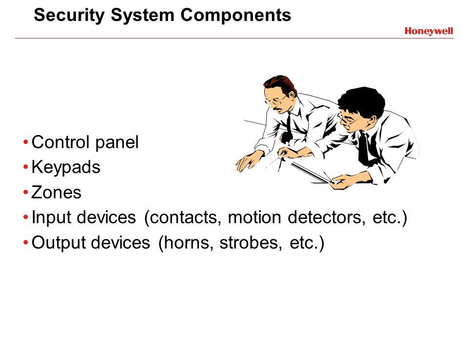 Security System Components Control panel Keypads Zones Input devices (contacts, motion detectors, etc.) Output devices (horns, strobes, etc.)