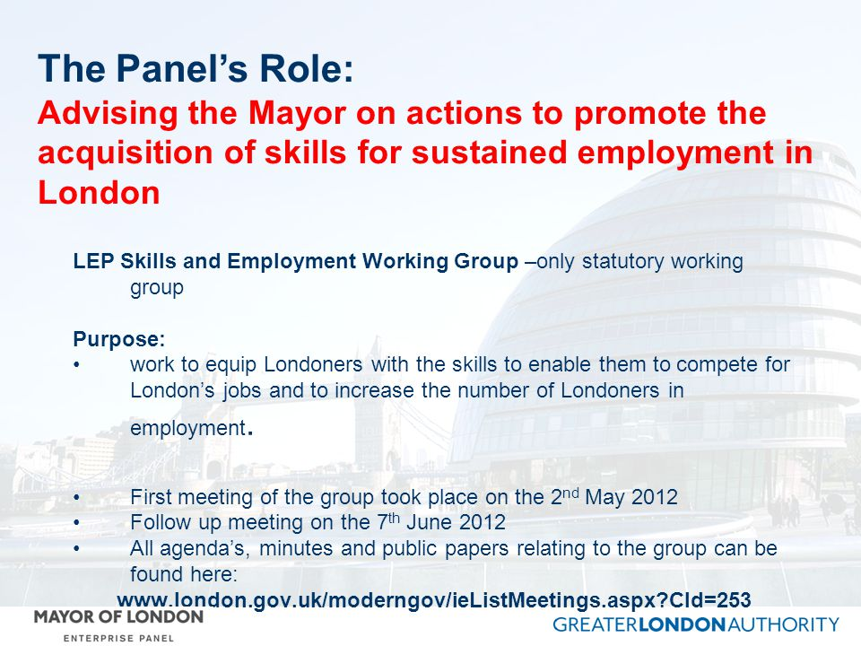 LEP Skills and Employment Working Group –only statutory working group Purpose: work to equip Londoners with the skills to enable them to compete for Londons jobs and to increase the number of Londoners in employment.