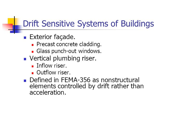 Drift Sensitive Systems of Buildings Exterior façade.