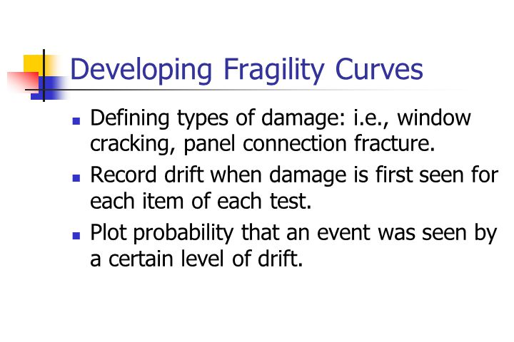 Developing Fragility Curves Defining types of damage: i.e., window cracking, panel connection fracture.
