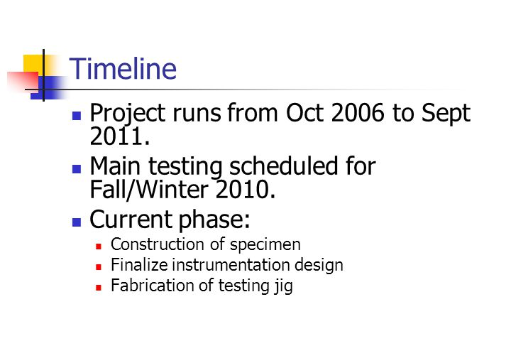 Timeline Project runs from Oct 2006 to Sept 2011. Main testing scheduled for Fall/Winter 2010.
