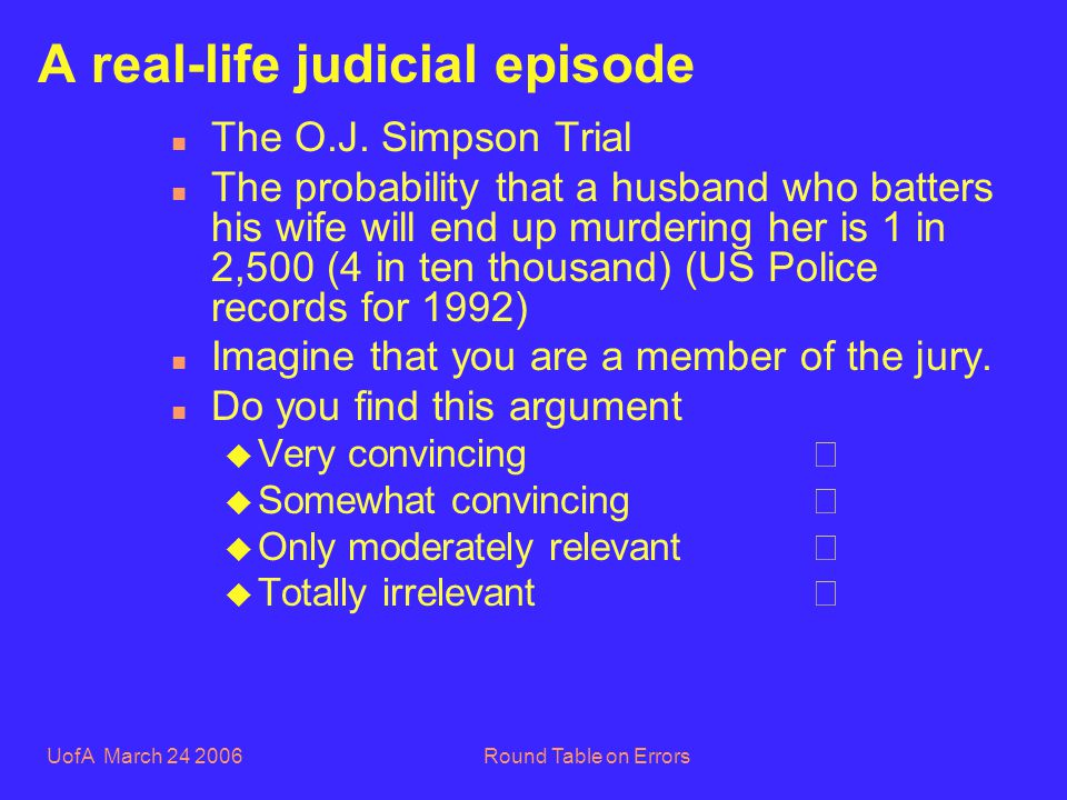 UofA March 24 2006Round Table on Errors A real-life judicial episode n The O.J.