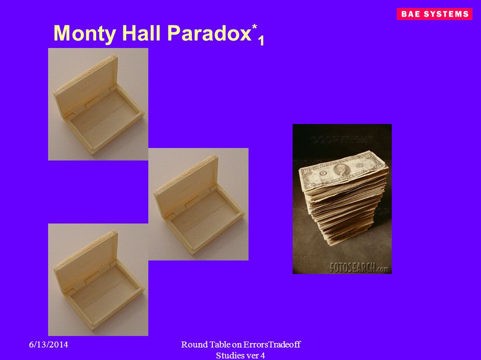 6/13/2014Round Table on ErrorsTradeoff Studies ver 4 Monty Hall Paradox * 1