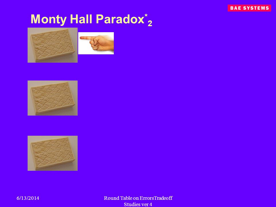 6/13/2014Round Table on ErrorsTradeoff Studies ver 4 Monty Hall Paradox * 2