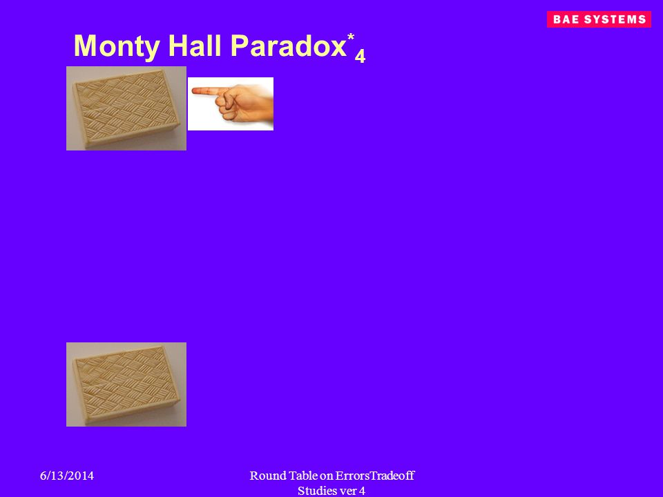 6/13/2014Round Table on ErrorsTradeoff Studies ver 4 Monty Hall Paradox * 4
