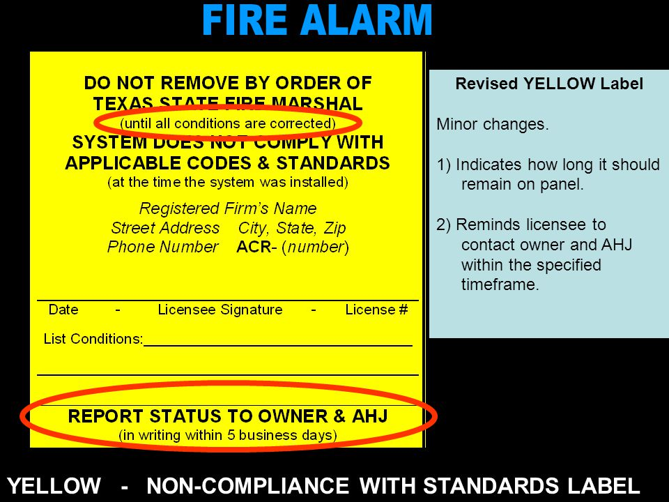 YELLOW - NON-COMPLIANCE WITH STANDARDS LABEL Revised YELLOW Label Minor changes.