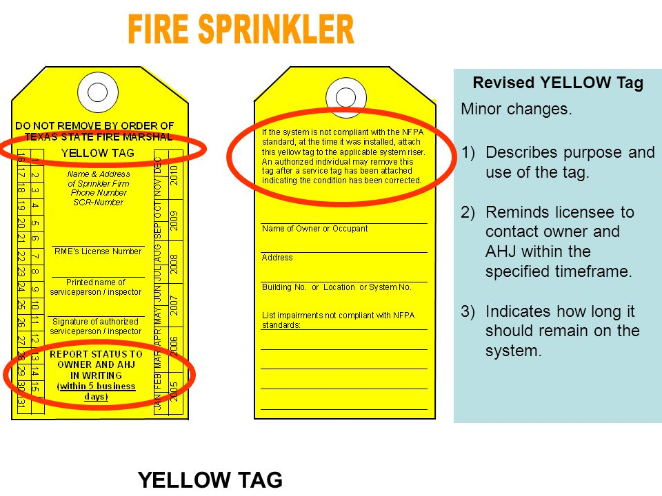 Revised YELLOW Tag Minor changes. 1)Describes purpose and use of the tag.