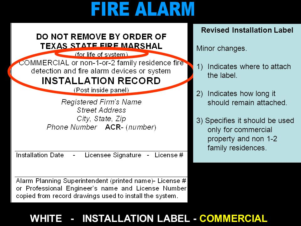 Revised - RED FOR SYSTEM IMPAIRED or INOPERABLE Revised - YELLOW FOR SYSTEM NOT ACCORDING TO CODE AT TIME IT WAS INSTALLED New - BLUE FOR SYSTEM SCHEDULED (ANNUAL) INSPECTION Texas Department of Insurance State Fire Marshals Office, Mail Code 112 -FM 333 Guadalupe P.