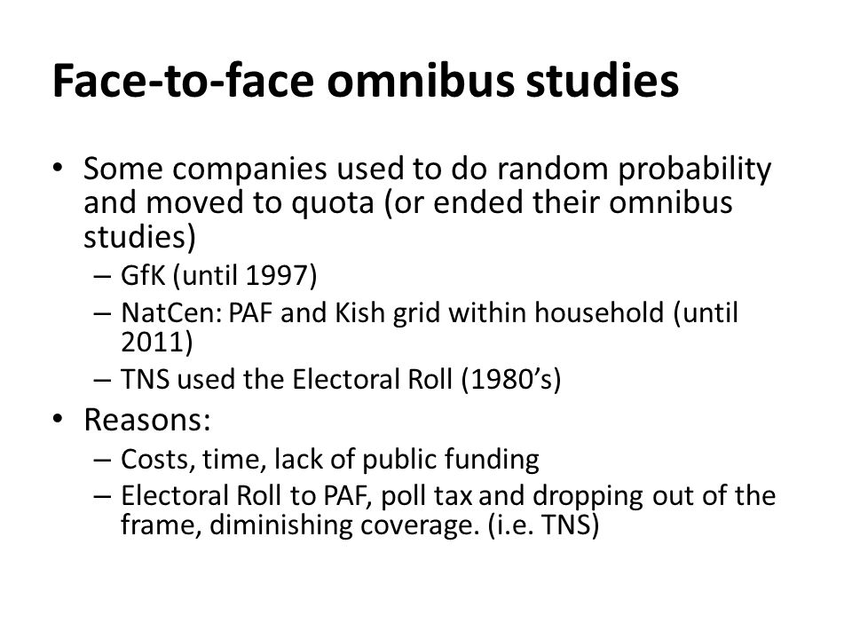 UK Face-to-Face Omnibus Surveys Agency & NameSampleReportingFieldwork time Cost (per question) Probability or quota.
