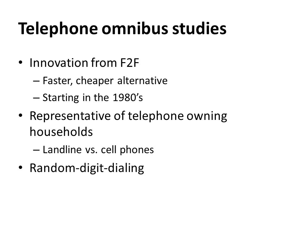 UK Telephone Omnibus Surveys Agency & NameSampleReportingFieldwork time Cost (per question)Year started ComRes Telephone 1,000 GB adults Age, gender, region, social grade.