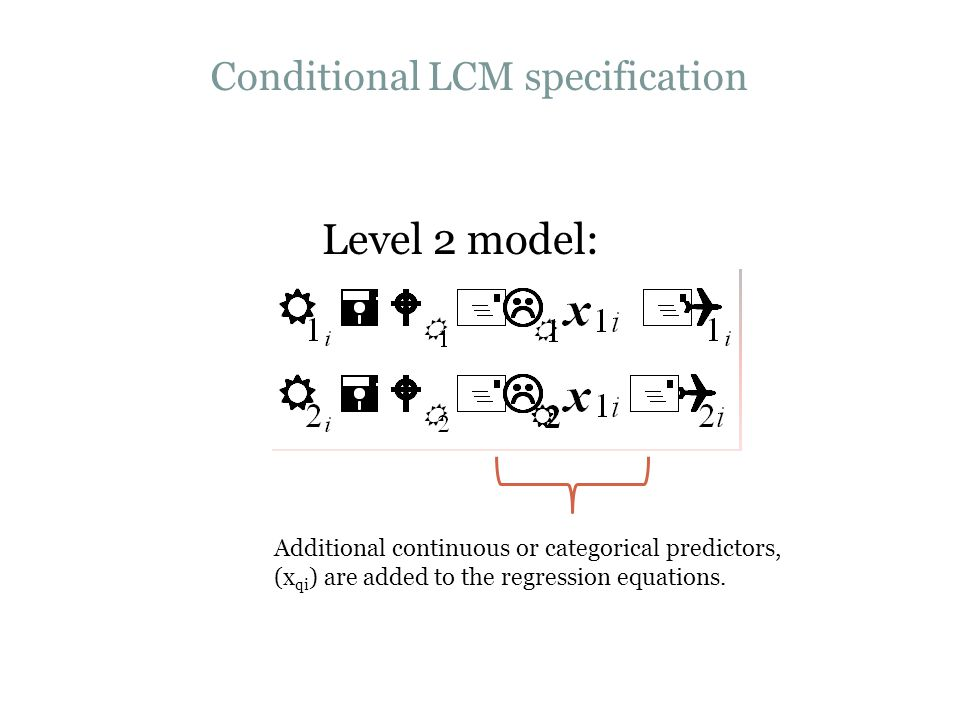 Conditional LCM specification Level 2 model: Additional continuous or categorical predictors, (x qi ) are added to the regression equations.