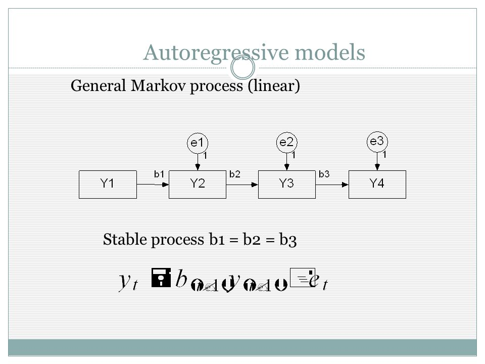 Autoregressive models General Markov process (linear) Stable process b1 = b2 = b3
