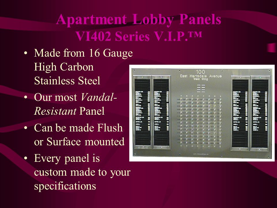 Made from Heavy Gauge Polished Brass For Luxury Buildings Can be made Flush or Surface mounted Every panel is custom made to your specifications Apartment Lobby Panels VI404 Series V.I.P.