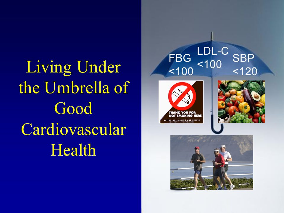 Living Under the Umbrella of Good Cardiovascular Health FBG <100 LDL-C <100 SBP <120