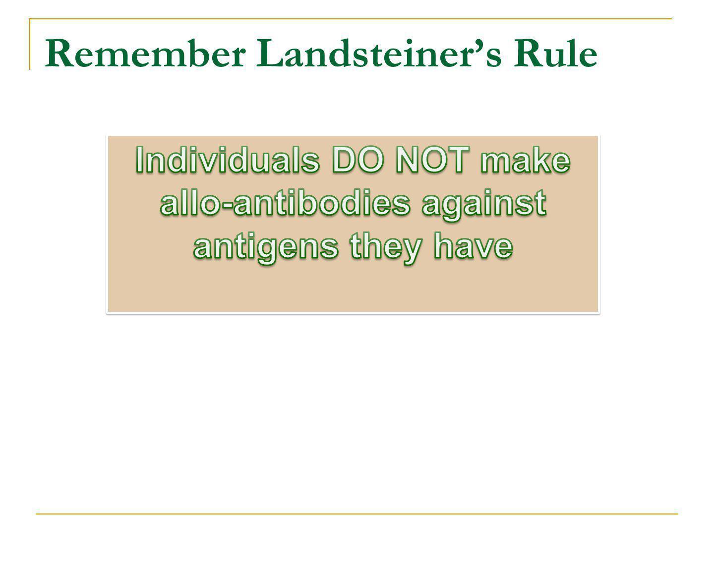 Remember Landsteiners Rule