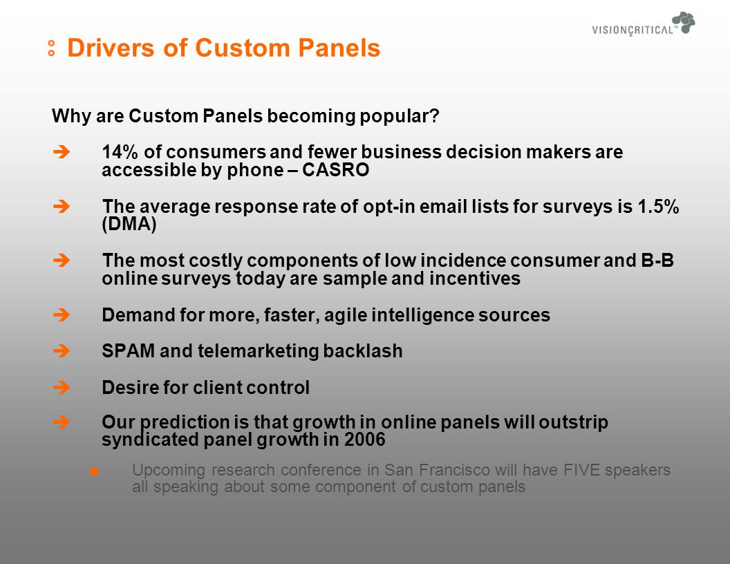 Drivers of Custom Panels Why are Custom Panels becoming popular.