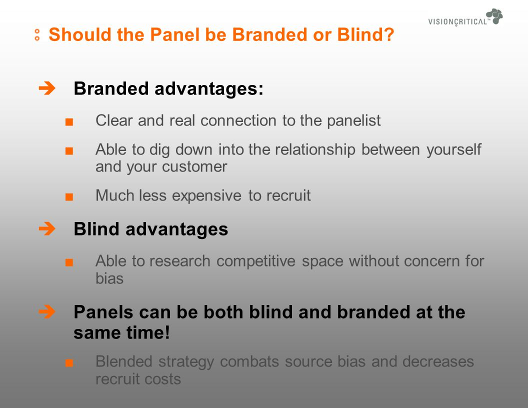 Should the Panel be Branded or Blind.