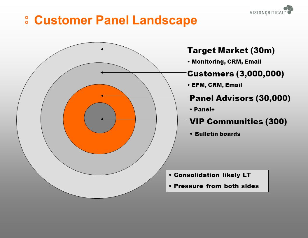 Customer Panel Landscape VIP Communities (300) Bulletin boards Panel Advisors (30,000) Panel+ Customers (3,000,000) EFM, CRM, Email Target Market (30m) Monitoring, CRM, Email Consolidation likely LT Pressure from both sides