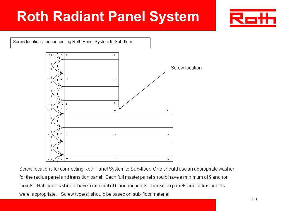 19 Roth Radiant Panel System Screw locations for connecting Roth Panel System to Sub-floor. Screw location Screw locations for connecting Roth Panel S
