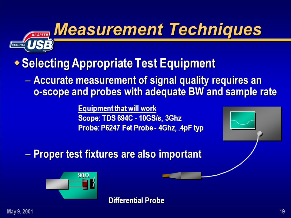 May 9, 2001109 Measurement Techniques w Selecting Appropriate Test Equipment – Accurate measurement of signal quality requires an o-scope and probes w