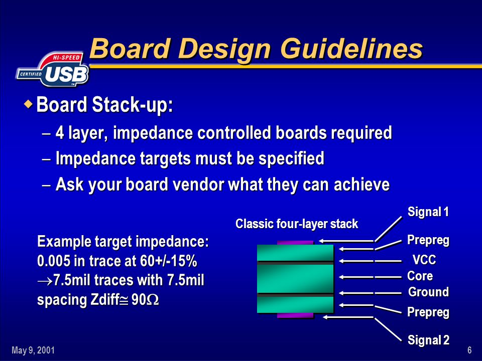 May 9, 20016 Board Design Guidelines w Board Stack-up: – 4 layer, impedance controlled boards required – Impedance targets must be specified – Ask your board vendor what they can achieve Classic four-layer stack Signal 1 Prepreg VCC Core Ground Prepreg Signal 2 Example target impedance: 0.005 in trace at 60+/-15% 7.5mil traces with 7.5mil 7.5mil traces with 7.5mil spacing Zdiff 90 spacing Zdiff 90