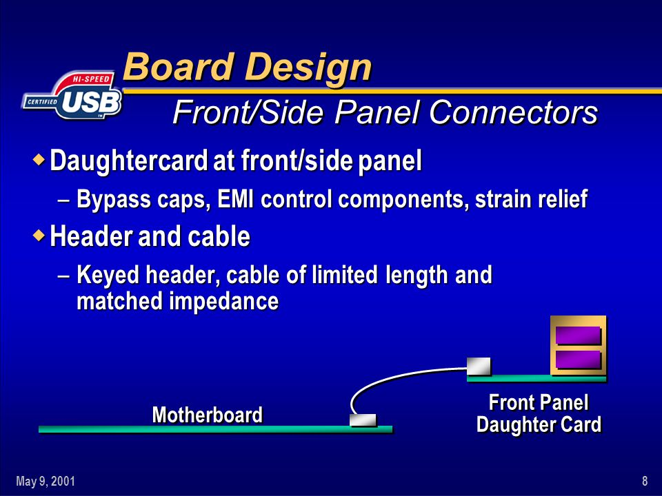 May 9, 20018 Motherboard Front Panel Daughter Card Board Design w Daughtercard at front/side panel – Bypass caps, EMI control components, strain relief w Header and cable – Keyed header, cable of limited length and matched impedance Front/Side Panel Connectors