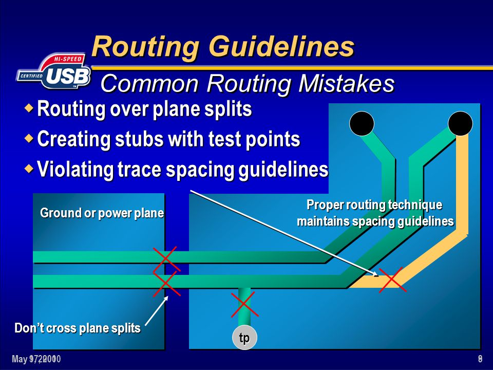 May 9, 20019May 17, 20008 Routing Guidelines w Routing over plane splits w Creating stubs with test points w Violating trace spacing guidelines Common